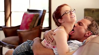 Nerdy Redhead Chick In Glasses Sucks And Fucks Her Daddy In The Living Room