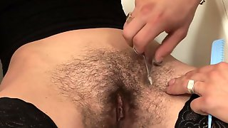 Dude Fucks Hairy Chick From Behind While She Standing Then Shaves Her Cunt