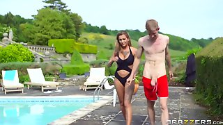 Tattooed Bigboobs Horny Chick CHantelle Fox Gets Hard Fucking Pool Side