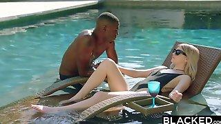 Bikini Beauty Takes Large Black Cock Deep Inside Her Shaved Pussy