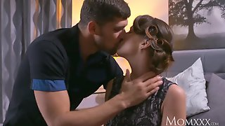 Short Haired Milf In Lace Stockings Drains Lovers Cock Dry