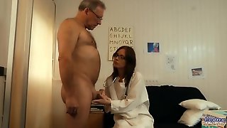 Old Patient Gets Fucked By Kinky Teen Doctor In Glasses