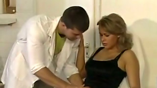 Elegant Blonde Female Gets Her Titties Licked By A Gynecologist