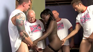 Bosomy Ebony Gal In Fishnets Osa Lovely Sucks Smelly Dicks Of White Guys