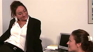 Lesbian Office Seductions Hot Brunette