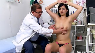 Pervy Old Doctor Checks Intimate Places Of Amateur Brunette