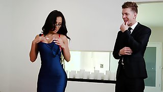 Amia Miley Strips Naked For Her Stepfather Before Suck And Fuck His Hard Cock