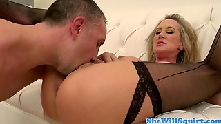 Blonde Milf Pussylicked And Fucked On Couch