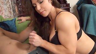 EMV Muscular Girl Shares A Cup Of Hard Sugar