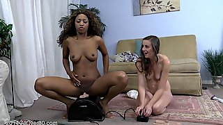 Black Lesbian Chick Eats White Girl Then Rides A Sybian Like A Pro