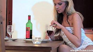 Bright Blonde Sexpot Bambi Stewart Has A Glass Bottle To Pet Her Cunt