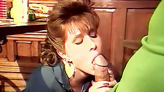 Licking Guys Pecker Under Table