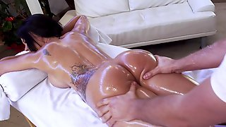 Oiled Brunette Is About To Get Fucked