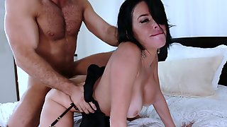 Short Haired Brunette Is Getting Fucked Good