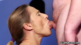Unusual Babe Gets Cum Shot On Her Face Swallowing All The Jizm