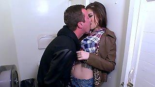 Zoe Wood Gives Head & Rides A Big Dick In A Public Bathroom