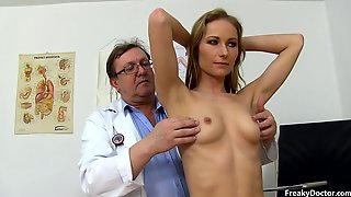 Old Paunchy Doctor Takes Care Of Skinny Girls Pussy