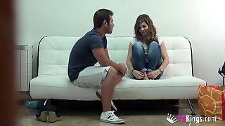 Young Spanish Girl Gives Pleasant Footjob Through His Shorts