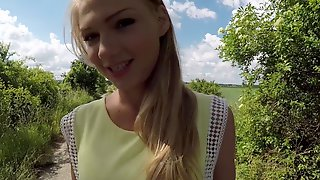 Russian Lucy Heart Sucks Cock & Takes A Ride On It For A Creampie Outdoors