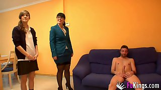 Suited Mom Teaches Young Wanton How To Suck Big Dick