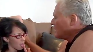 Nerdy Spinner In Big Glasses Is Gonna Fuck Old Silver Daddy