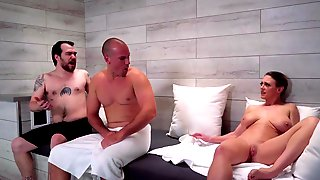 Dee Williams Fucks Her Sons Buddy In The Sauna Right Next To Him