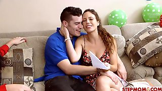 Bday Boy Fucks His Hot GF And Sexy Stepmom On The Couch