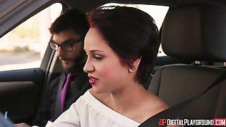 Car Sex Session With Formidable Brunette Cadey Mercury