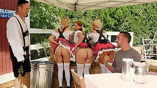 Shameless Waiters Lift Up Their Short Skirts And Flash Butts