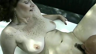 Amateur Mature Curly Haired Fatso Gets A Chance To Ride Big Cock