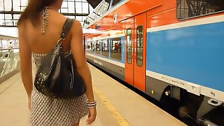 Bored Brunette Babe Shows Pussy When Riding A Train