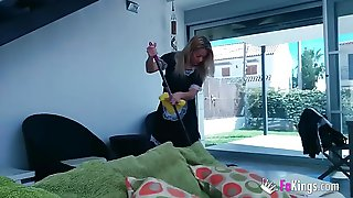 Hot Blonde In Black Stockings Sucks Cock And Enjoys Hardcore