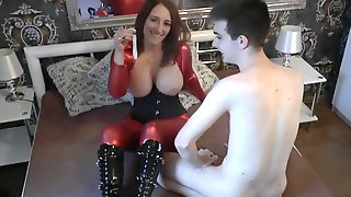 Slut In Shiny Red Spandex Cat Suit Fucks For Condom Cum