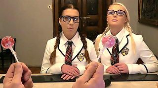 2 Nerd Girls Shows Off Their Blowjob Skills Wearing Glasses And Stockings
