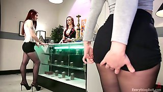Whorish Lesbian Bella Rossi And Her Assistant Stretch Anus Of One Nasty Chick