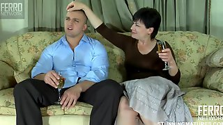 Chubby MILF Seduces Young Guy Showing Him Bald Mature Pussy