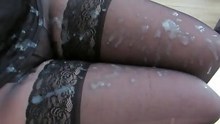 Sperm On Her Nylon Legs