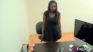 African Chick With Big Boobs Earns Extra 100 Euros By Fucking BBC