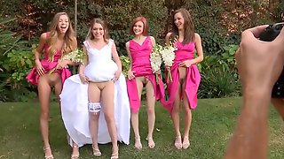 Young Bride And Her Bridesmaids Show Their Pussies