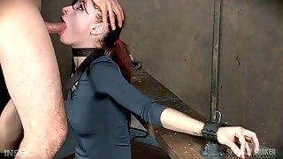 Slutty Red Head Violet Monroe Gets Her Throat Fucked Hard