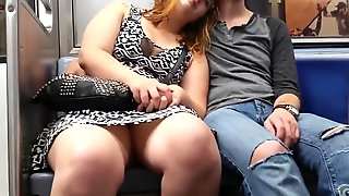 Fat Chick On The Subway Sits With Her Legs Open