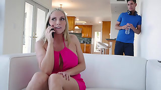 Christie Stevens Seduces Her New Stepson To Fuck Her & Bust A Load On Her Juggs