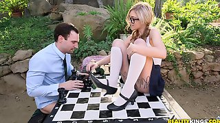 After Playing Chess Kali Roses Starts Sucking A Fat Boner Outdoors