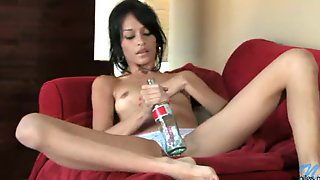 Hot Coke Bottle Shoved Into Her Sexy Pussy