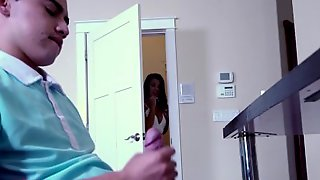 BANGBROS - Step Sister Evelin Stone Catches Juan El Caballo Loco In The Act
