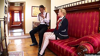 Syren Sexton Looks Fabulous Wearing Her Business Uniform With Fishnets Stockings