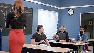 Redhead Teacher In Sexy Pantyhose Fucks A Student For Punishment