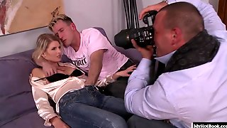 Slender Blonde, Wiska, Gives Blowjobs To Two Hard Cocks