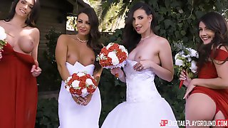 Gorgeous Brunette Bride Gets Bonked In Her Beautiful White Dress