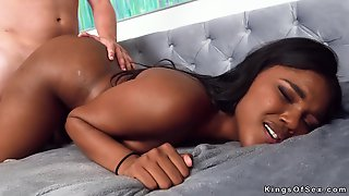 After Yoga In Backyard Black Teen Takes A Big White Cock